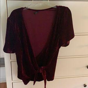 Burgundy Velvet faux wrap top